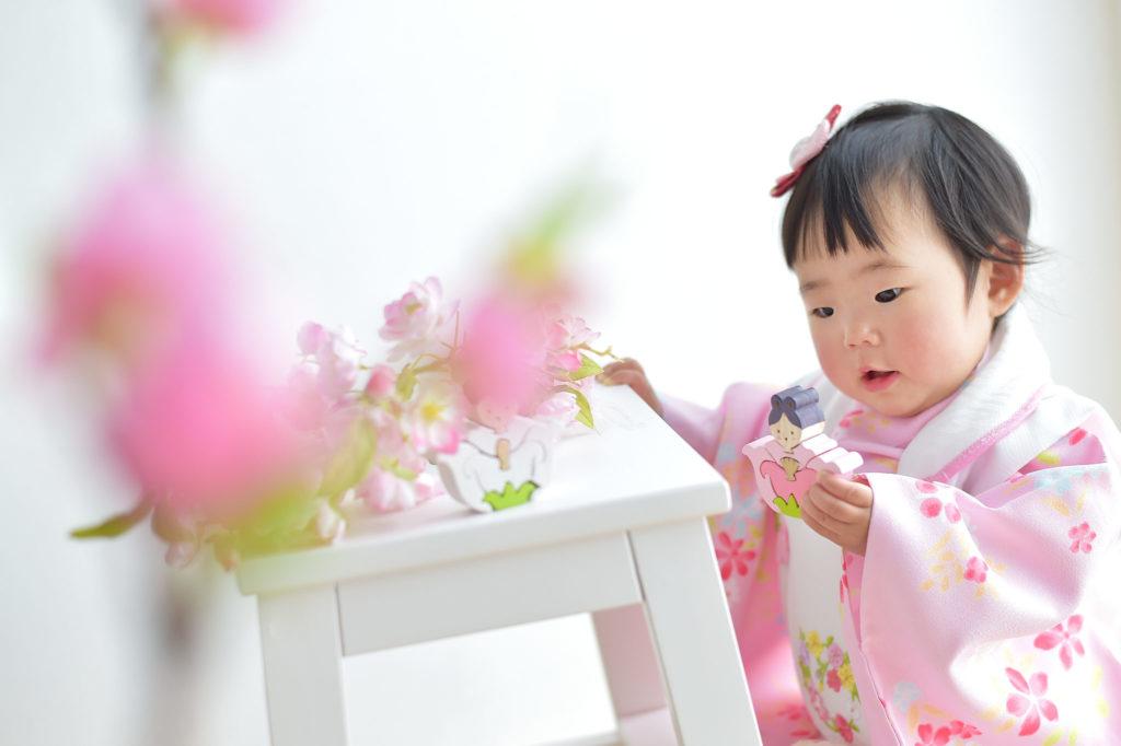 大阪市 桃の節句 女の子 ピンクの被布