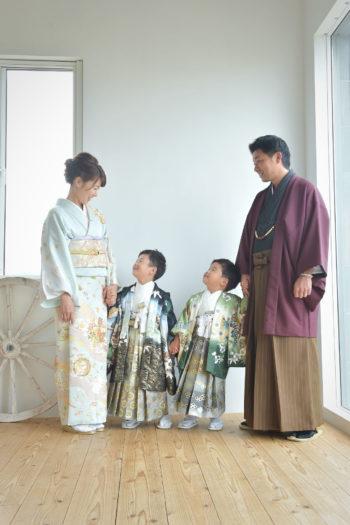 七五三 家族写真 父羽織袴