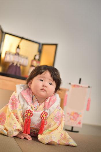 宝塚市 桃の節句 黄色の着物