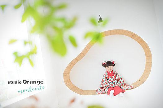 宝塚市 3才女の子 七五三 椿の着物