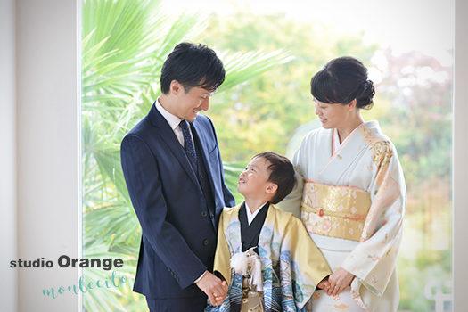 大阪市 七五三 3歳男の子 ママも着物
