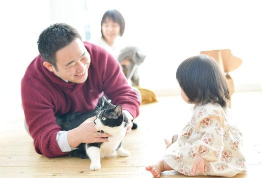 家族写真 猫と撮影