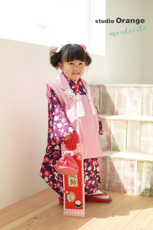 七五三 宝塚市 紫の着物