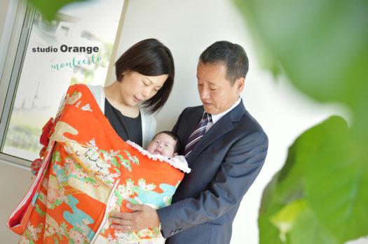 お宮参り 0才女の子 宝塚市 自然な家族写真