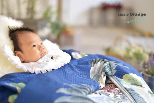 お宮参り 中山寺 青の着物 男の子 自然な雰囲気