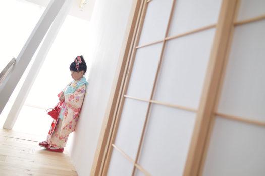 宝塚市 七五三 3歳女の子 水色の被布