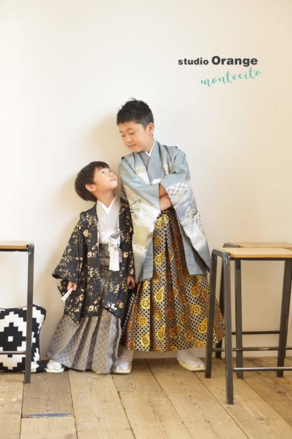 宝塚 七五三 5歳男の子 黒の着物 兄弟