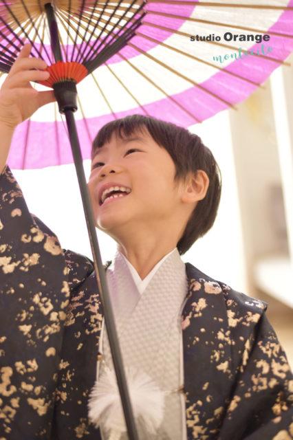 兵庫 七五三 5歳男の子 黒の着物