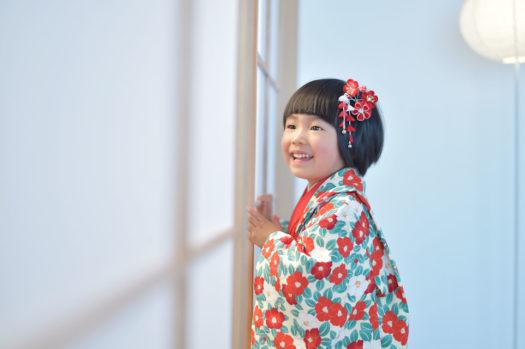 宝塚市 七五三 3歳 モダン着物 椿