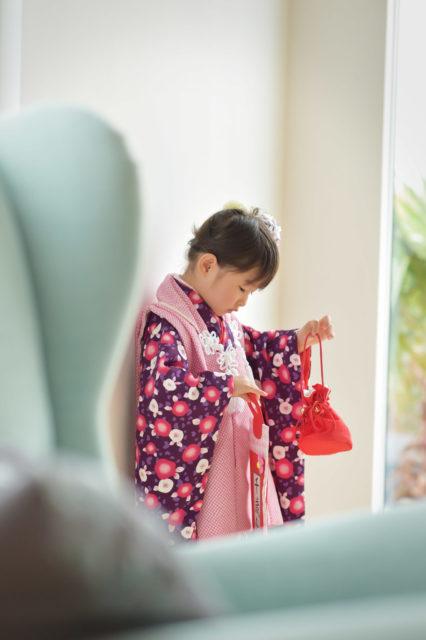 宝塚市 七五三 3歳 紫の被布