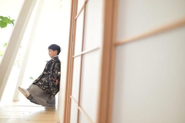 宝塚市 七五三 5歳 黒の羽織袴