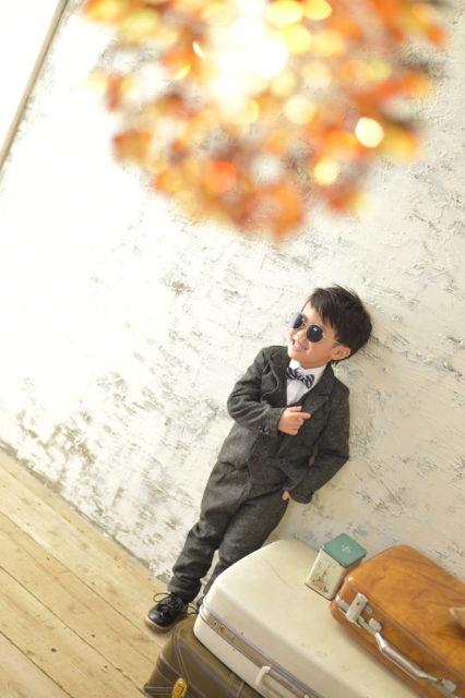 宝塚市 七五三 5歳 黒のスーツ