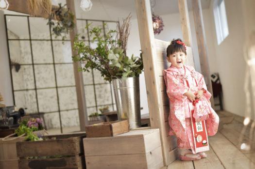 宝塚市 七五三後撮り 3歳 ピンクの着物