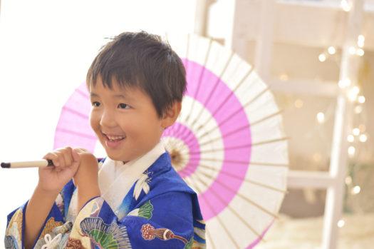 宝塚市 七五三 5歳 青の着物