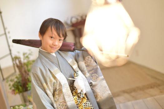 宝塚市 10歳記念 男児袴 和傘