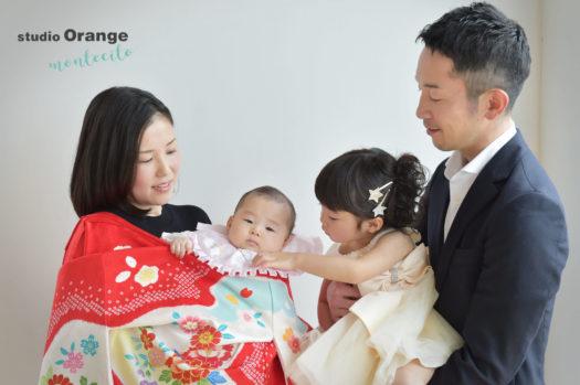 宝塚市 お宮参り 中山寺 女の子 赤の初着 家族写真