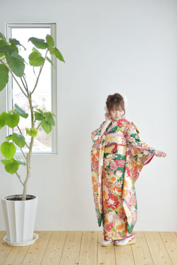宝塚市 成人式 二十歳 緑の振袖