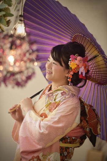 宝塚 成人式 前撮り ピンクの振袖