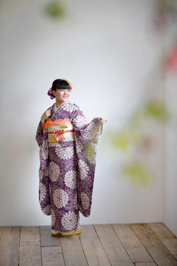 宝塚市 成人記念 紫の振袖