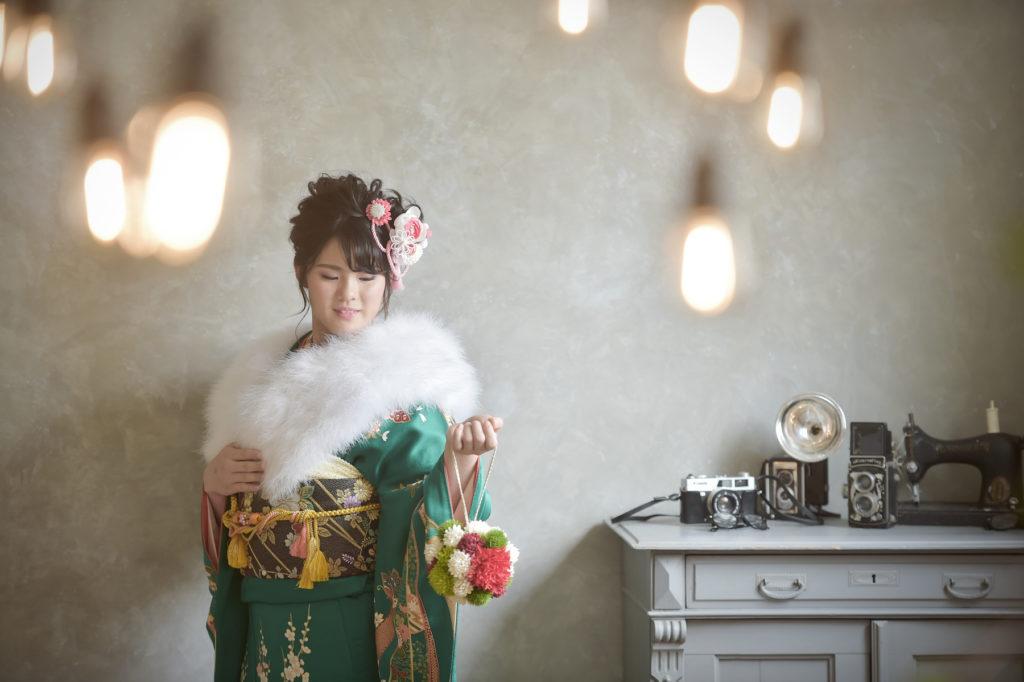 宝塚市 成人式 緑の振袖