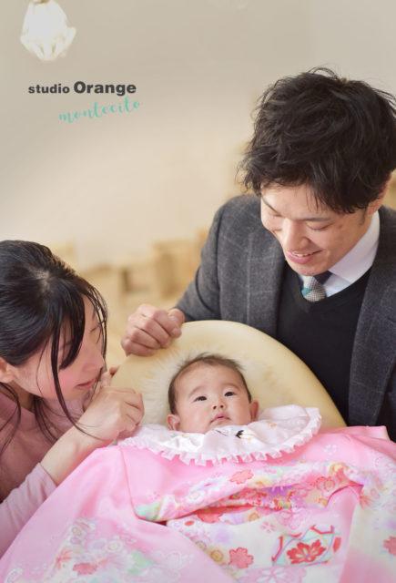宝塚市 お宮参り ピンクの初着 家族写真