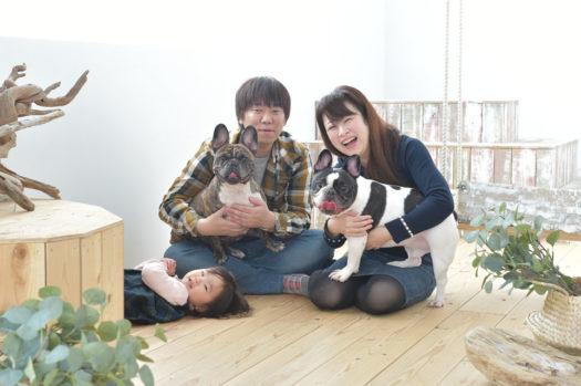 宝塚市 家族写真 フレンチブルドッグ