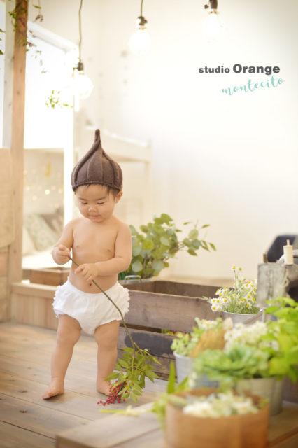 宝塚市 バースデーフォト 1歳 男の子 はだかんぼう