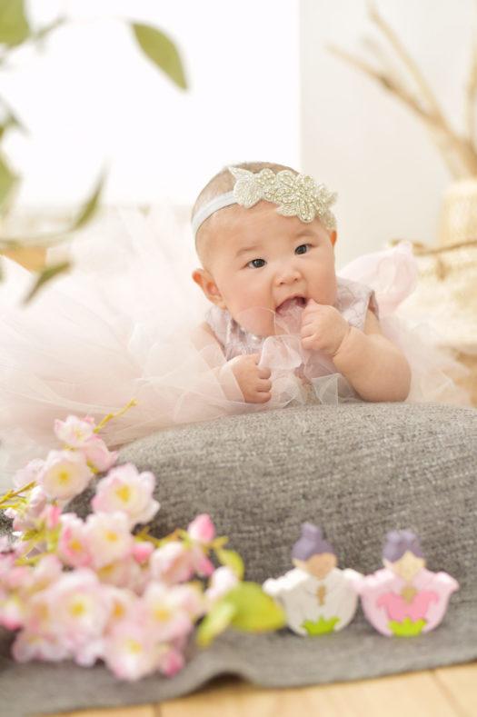 宝塚市 桃の節句 女の子 紫のドレス