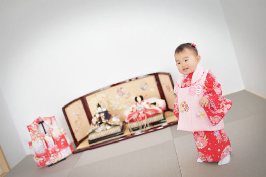 宝塚市 桃の節句 雛祭り 赤の被布