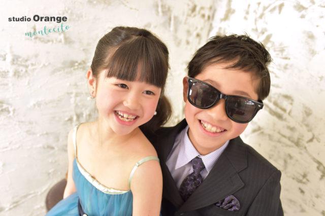 川西市 七五三 7歳女の子 兄弟 青いドレス