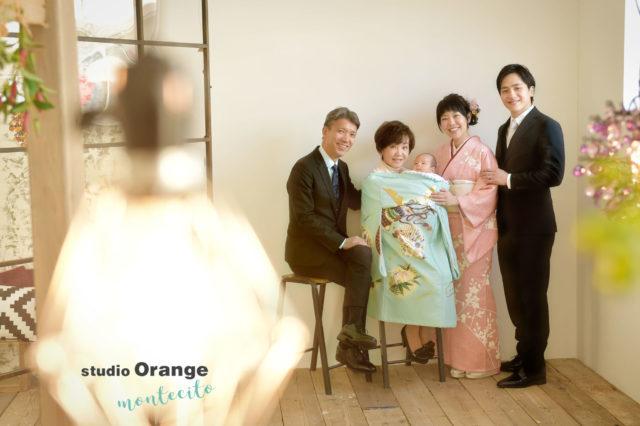 神戸市 お宮参り 家族写真 水色の初着