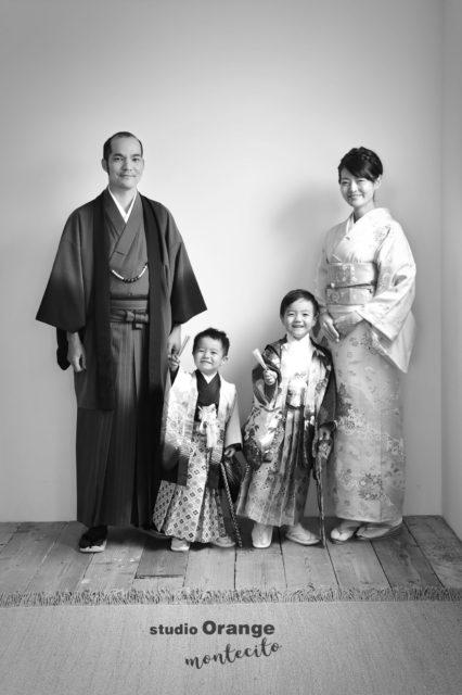 宝塚市 七五三 家族写真 和装 訪問着 羽織袴