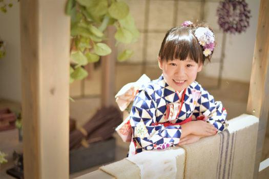 宝塚市 七五三 7歳 紺色の着物