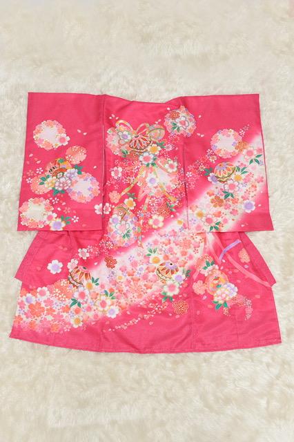 宝塚市 お宮参り 着物 初着 ピンク色の初着