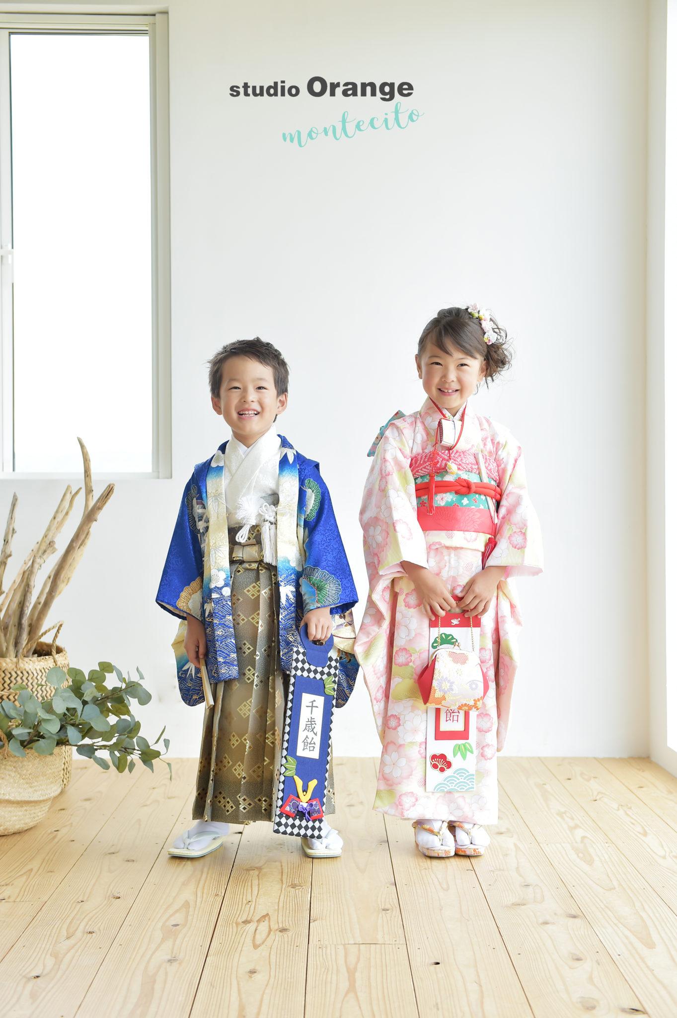 宝塚 七五三 双子 7歳 青の着物 ピンクの着物