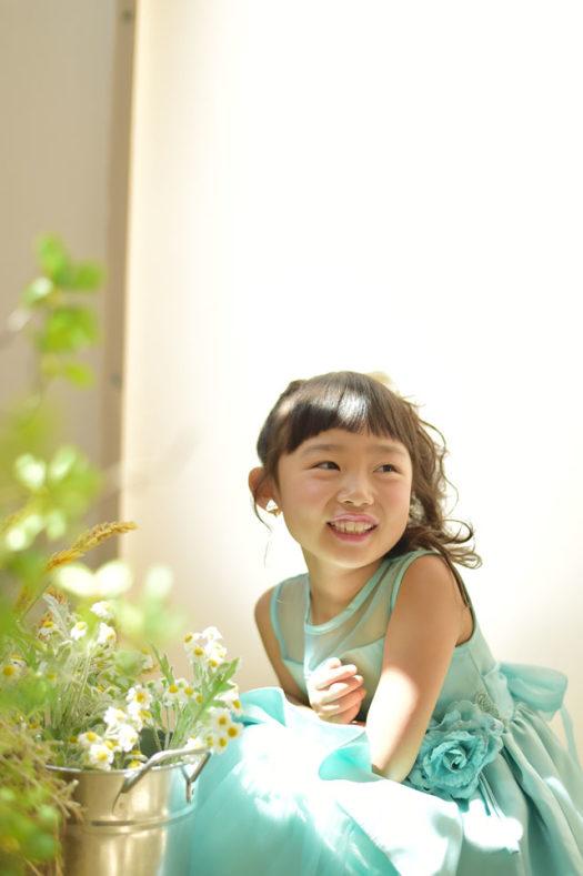宝塚 七五三 7歳 グリーンのドレス