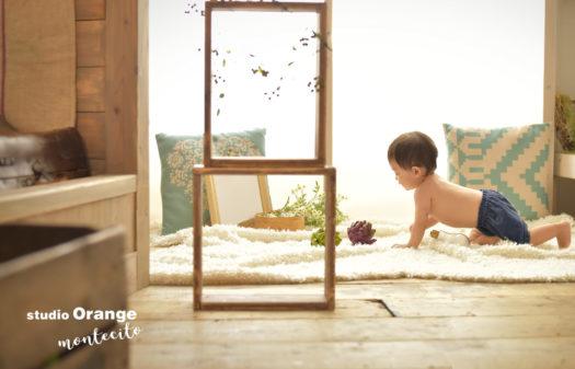 川西市 お誕生日撮影 1歳 男の子 はだかんぼう