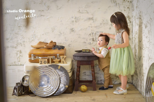 川西市 バースデーフォト 1歳 男の子 姉弟写真