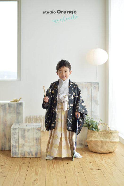 伊丹市 七五三 黒の羽織袴 5歳男の子