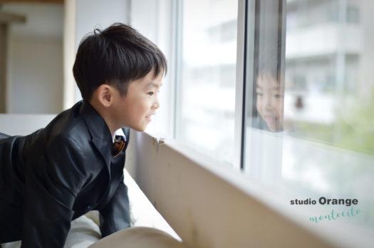 伊丹市 七五三 黒のスタジオ衣装 5歳男の子