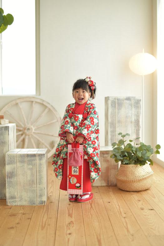 宝塚市 七五三 3歳 椿柄の着物