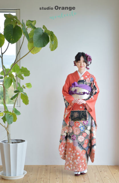 宝塚 成人式写真 赤の振袖