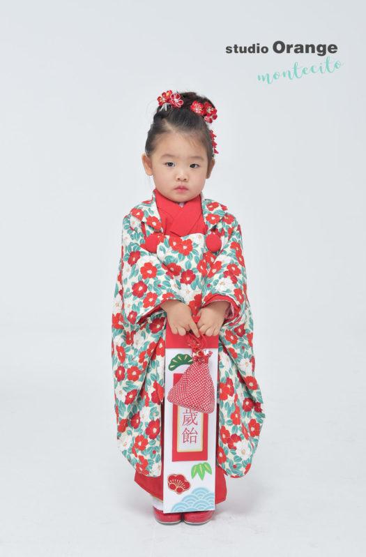 伊丹 七五三 2歳 女の子 椿柄の着物
