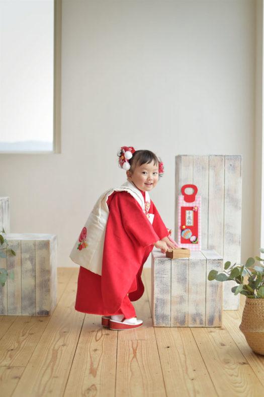 宝塚市 七五三 赤の被布