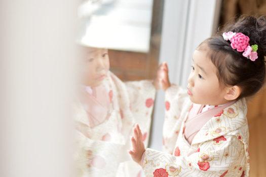 宝塚市 七五三 3歳 ピンクの被布