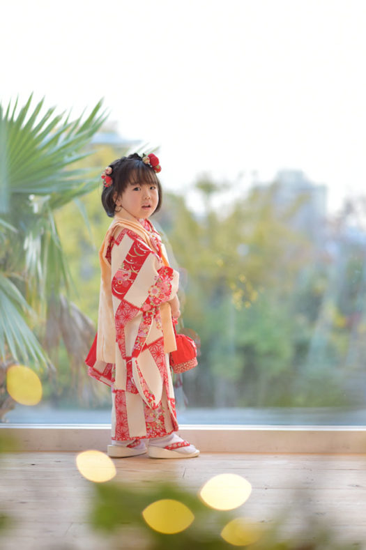 宝塚市 七五三 3歳 オレンジの被布