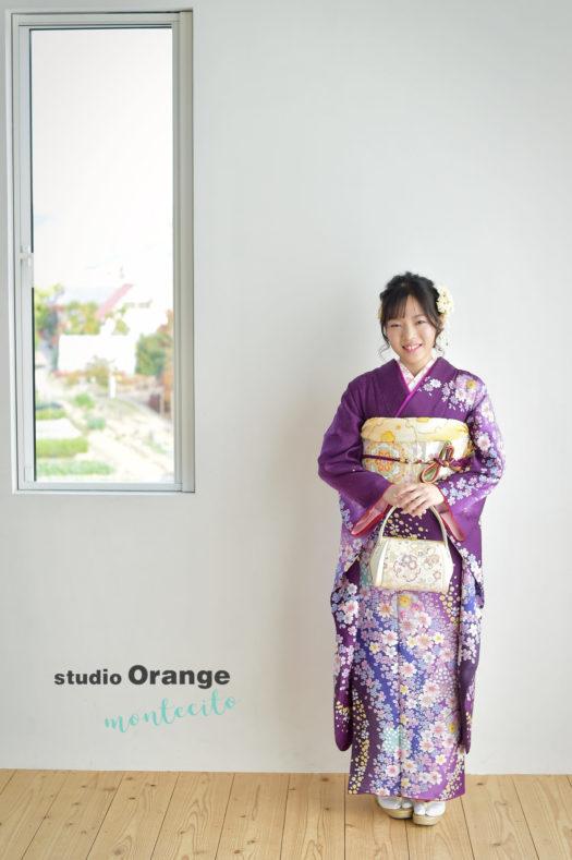 高砂市 成人式 前撮り 紫の振袖