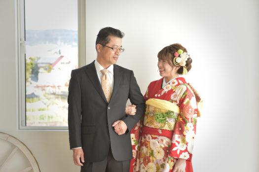 宝塚市 成人式前撮り 赤の振袖