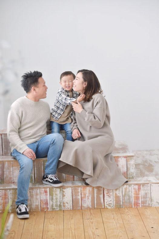 宝塚市 カジュアル 家族写真 ナチュラル リンクコーデ