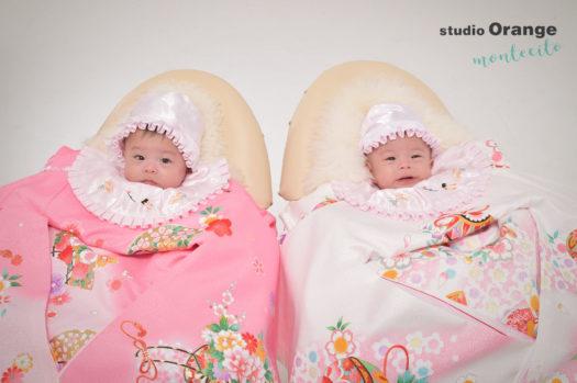 お宮参り 双子 ピンクの初着 白の初着